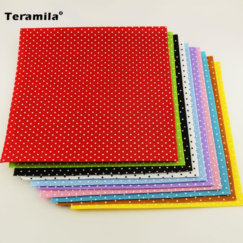Print polka dot polyester felt fabric cloth diy teramila for Polka dot felt fabric