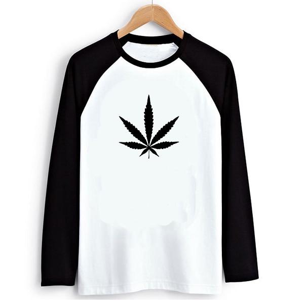 Hippie Punk Weed Print Black White Raglan Long Sleeve Men T shirt Swag Clothes Cool Tshirts