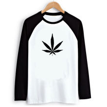 Hippie Punk Weed Print Black White Raglan Long Sleeve Men T-shirt Swag Clothes Cool Tshirts Street Tee Shirt Tshirt