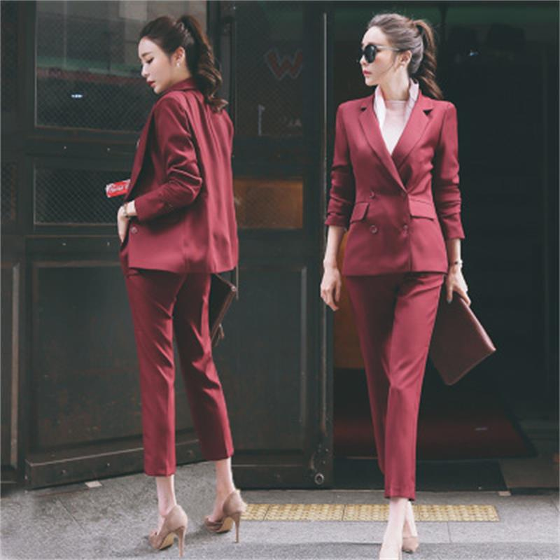 2018 Pure Simple Boy Friend Jacket Nine Length Pants Red Wine/Black Elegant Attractive Female Office Laday Women Suit