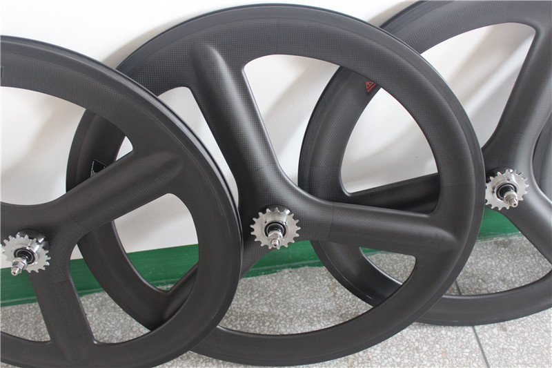 free shipping carbon spoke wheels 3 spokes wheels carbon road 700C clincher/tubular 3 spokes wheels bicycle 3 spoke wheels bike carbon tri spoke wheels oem decals front 700c road bike rear wheel bicycle 3 spokes fixed gear track cycling clincher wheelsets