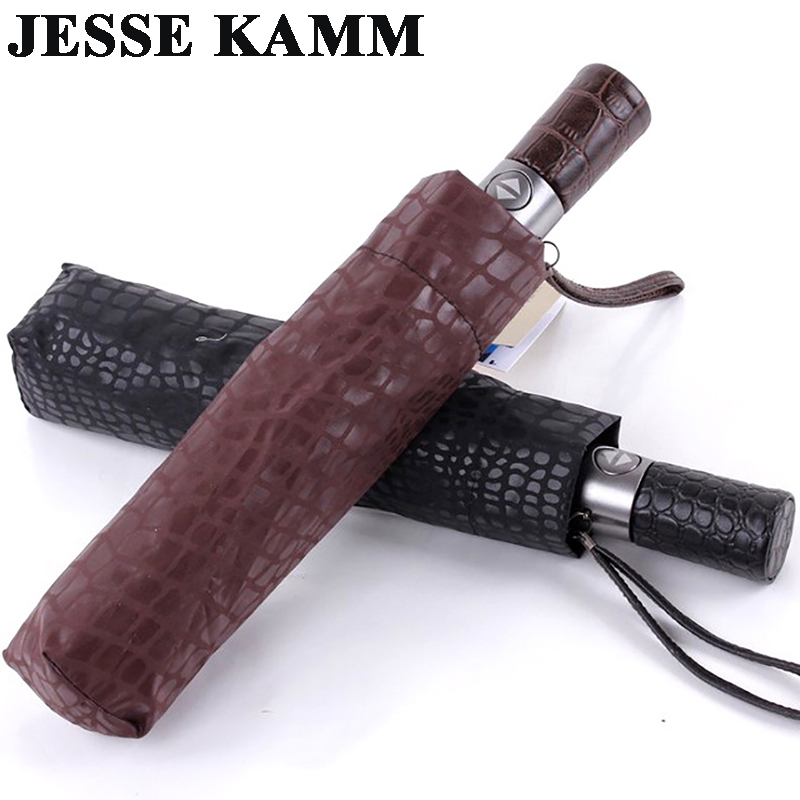 JESSE KAMM új, gyengéd férfiak, három összecsukható, kompakt, teljesen automatikus nagy bőr utánzat, kiváló minőségű Winfproof, erős esernyő.