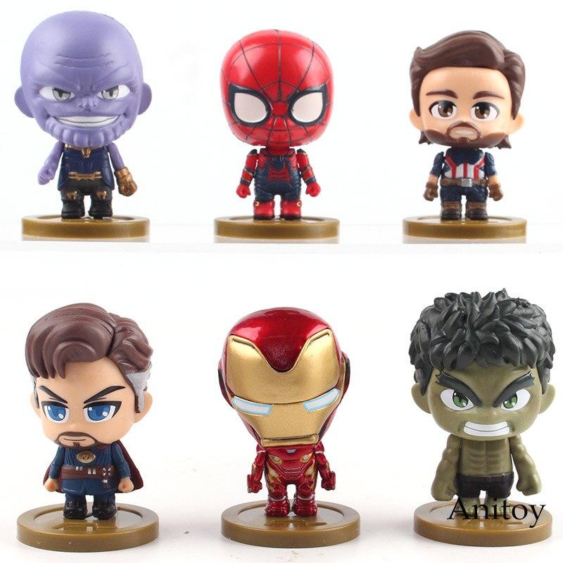 Avengers Infinity War Thanos Iron Man Spiderman Captain America Doctor Strange Q Version PVC Figures Collectible Model Toy