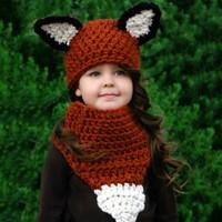 2017 Baby Brown Squirrel Hand Hat Scarf Suit Kids Hats Winter Keep Warm Baby Hat Cotton