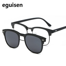 52-20-140 TR magnet frame retro eyeglasses frame Myopia clip sunglasses polarizing lens set for male and female 2218 myopic eyes