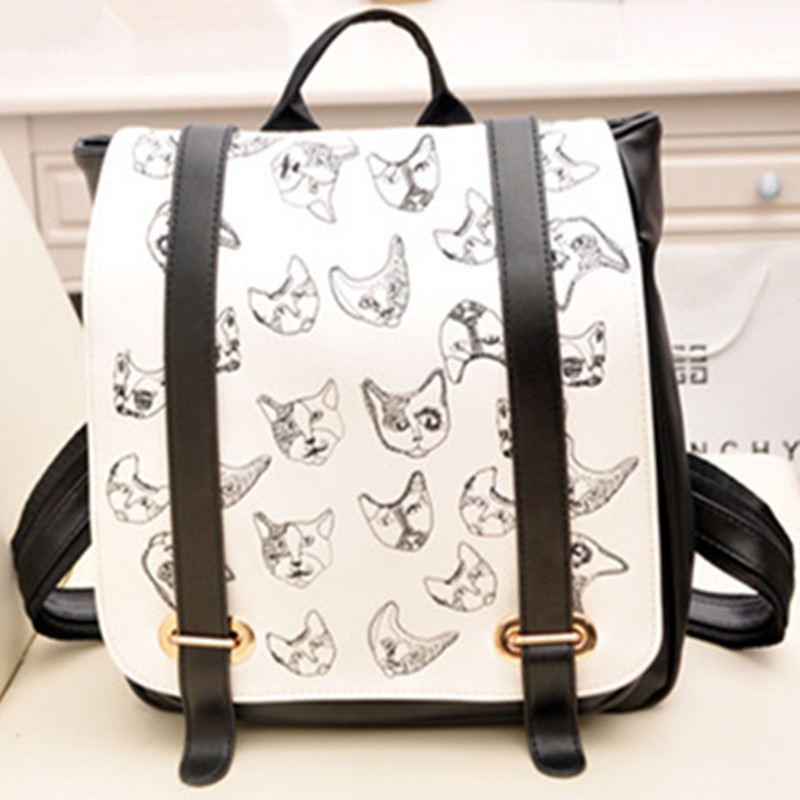 KUNDUI new hot women s Retro cat backpacks travel bags backpack PU printing female double shoulder