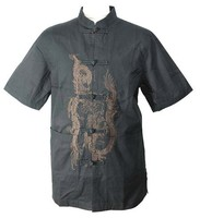 Noir chinois tradition hommes KungFu shirt top manches courtes avec broderie Dragon taille S à XXXL YF1152