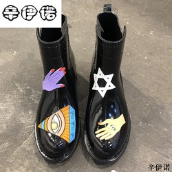 Rain Boots Women Pvc Prince Waterproof High Heel Water Shoes Tall Rain Boots Ankle Gummis Rain boots Female Rubber Toe Rainboots