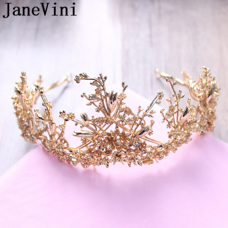 JaneVini 2019 Designer Gold Bridal Tiaras Baroque Bride Princess Crown Metal Headband Leaf Pageant Prom Hair Wedding Accessories in Hair Jewelry from Jewelry Accessories