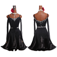 New Latin Dance Dress Women Black Long Sleeve Dress Fringe Dress Salsa Rumba Flamengo Female Competition Latin Dress BL1991