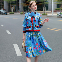 HIGH QUALITY Fashion Women Summer Prairie Chic Twin Set Ruffles Blouse Slim Skirt Floral Printed Bow