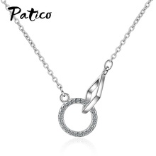 Top Vendedor New Cubic Zircon Circle Pendant Necklaces 925 Sterling Silver Women Jewelry Friendship Gift Geometric Statement new 925 sterling silver zircon square circle necklaces pendant fashion sterling silver jewelry statement for women bijoux