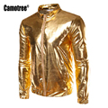 2017 Fashion Hi Street Men Bomber Jacket Men Hip Hop Slim Fits Windbreaker Jacket Coat Nightclub Party Perform Shiny Gold Silver