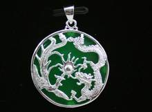 FREE SHIPPING Silver set green jade Dragon Phoenix Pendant Necklace fine jewelry(China)
