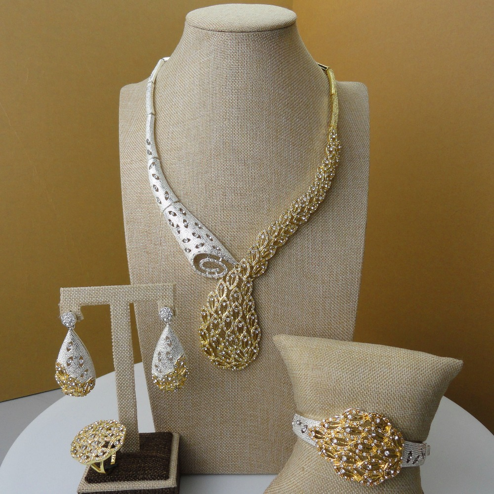Yuminglai Latest Design Dubai 24 Karat Gold Color Plated Jewelry Sets Unique and Lovely Design FHK5306