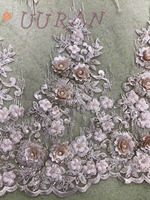 New arrival 3d appliqued African embroidered Lace with beads flower Latest Style Nigerian Tulle Mesh Lace for wedding
