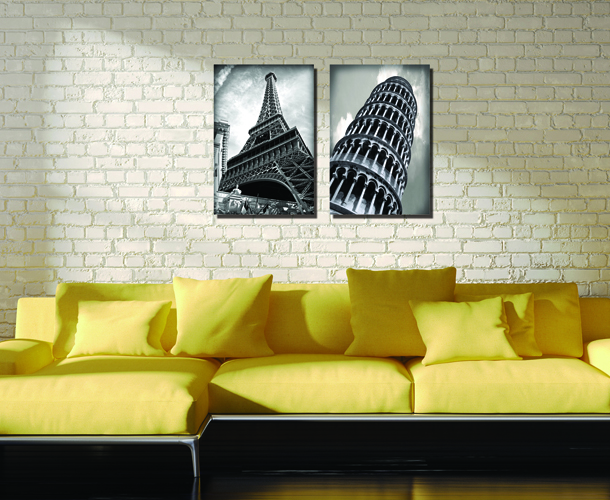 Unframed Two pieces Vintage Paris Black and White Towers Scenery ...