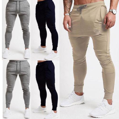 Slim Fit Joggingbroek Heren.2018 Hoge Kwaliteit Heren Slim Fit Sportkleding Gym Oefening Broek