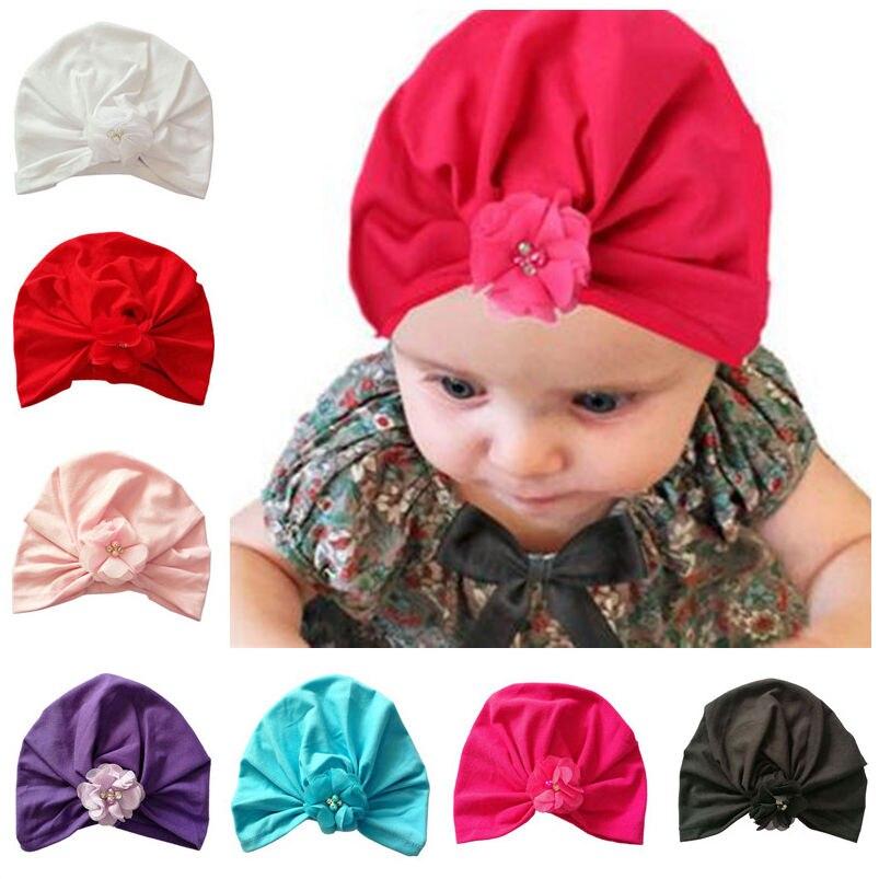 Bnaturalwell для маленьких девочек Кепки осень хлопок шляпу детей Шапки Дети шапка тюрбан шляпа с цветком малышей шапочка H022S