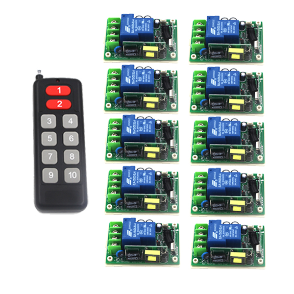 цена на Free shipping AC 85V-250V 1ch wireless remote control switch system 1 transmitter & 10 receiver relay smart house SKU: 5496