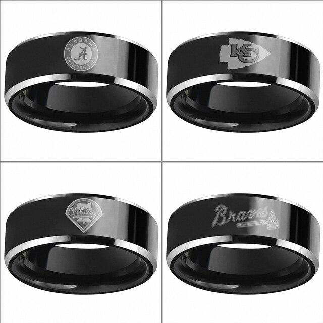 6mm Black Tungsten Alabama Crimson Tide Kansas City Chiefs Philadelphia Phillies Wedding Bands Engagement Ring