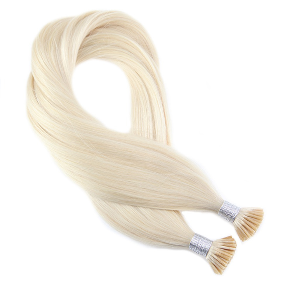 Moresoo Platinum Blonde #60 I Tip Hair Extensions Human Hair Real Brazilian Hair Keratin Pre Bonded Fusion Hair 1G/1S 50S 50G