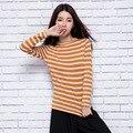 Camisola das mulheres Primavera Caxemira Pullovers De Malha Senhoras Moda Listrada Jumper Hot Venda Meninas Roupas de Lã De Tricô Padrão