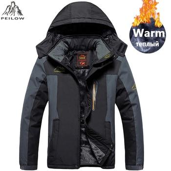 PEILOW plus size 5XL,6XL,7XL,8XL,9XL winter jacket men Waterproof windproof velvet warm parka coat Tourism Mountain overcoat