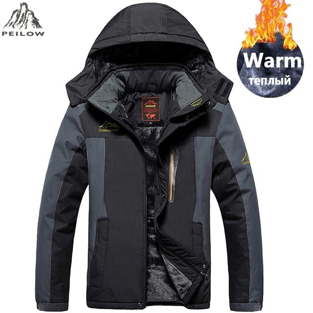 Special Price PEILOW plus size 5XL,6XL,7XL,8XL,9XL winter jacket men Waterproof windproof velvet warm parka coat Tourism Mountain overcoat