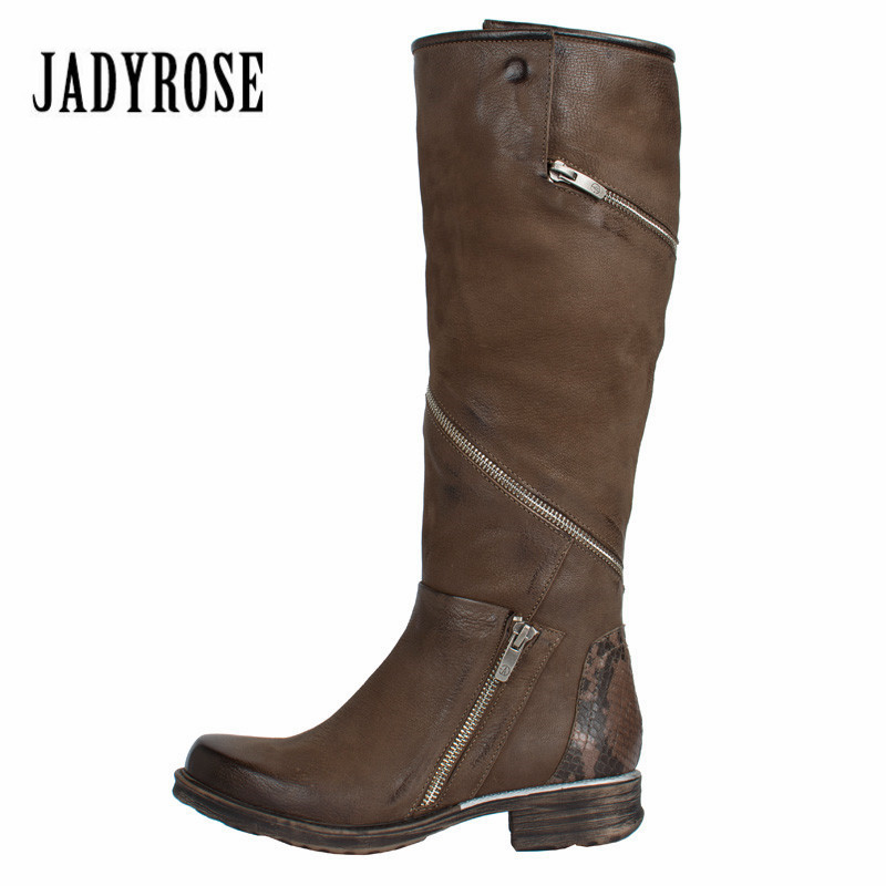 Jady Rose Zip Design Women Knee High Boots Retro Brown Martin Boots Flat Platform Rubber Shoes Woman Female High Botas Mujer