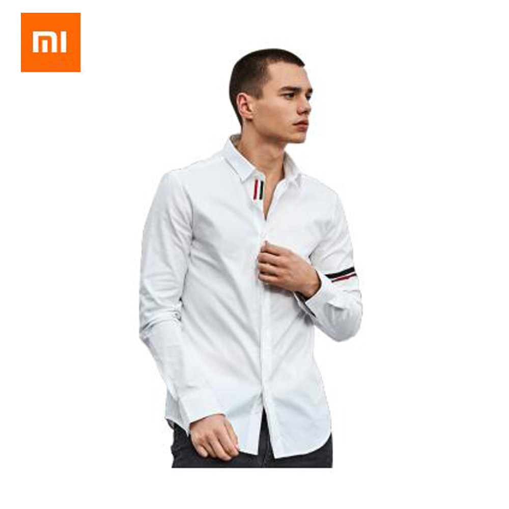 Xiaomi Youpin Shirt Instant me Classic Colorblock Long Sleeve Shirt 100 cotton Yarn dyed Sanded Oxford