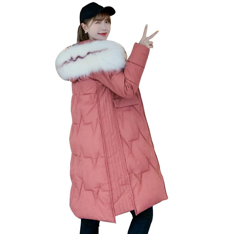 winter coat women Fur collar hat down cotton-padded warm thicken long outwear winter jacket women   parka   female plus size