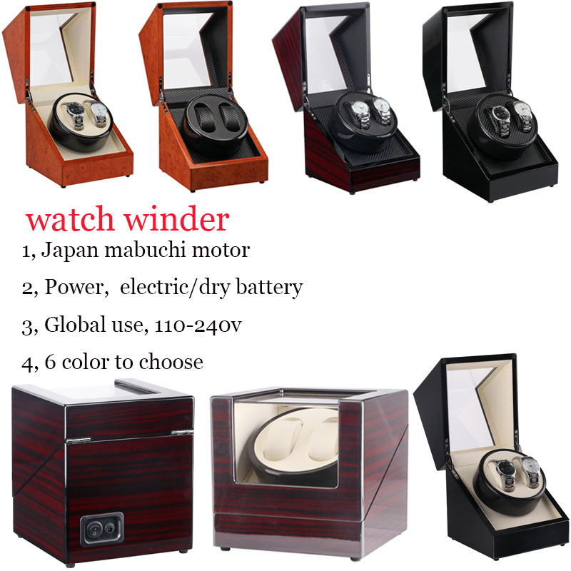 Automatic watch winders mechanism 2 box motor rotate case display color wooden winder watches cabinet global use 110-240v luxury watch winders case cabinet grids rotate watch motor machine box gift world use safe plug watches watch winders drop shipping new