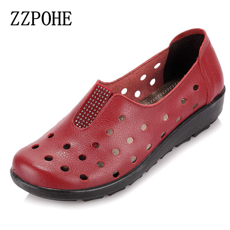 ZZPOHE Summer mother sandals slope comfortable soft-soled shoes pregnant women elderly flat sandals Woman Leather Flat Shoes