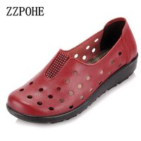 ZZPOHE Summer mother sandals slope comfortable soft soled shoes pregnant women elderly flat sandals Woman Leather Flat Shoes