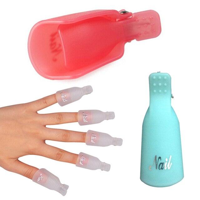 10 Pcs Degreaser Polish Wrap Tool Nails Remover Soak Off Cap Clip ...