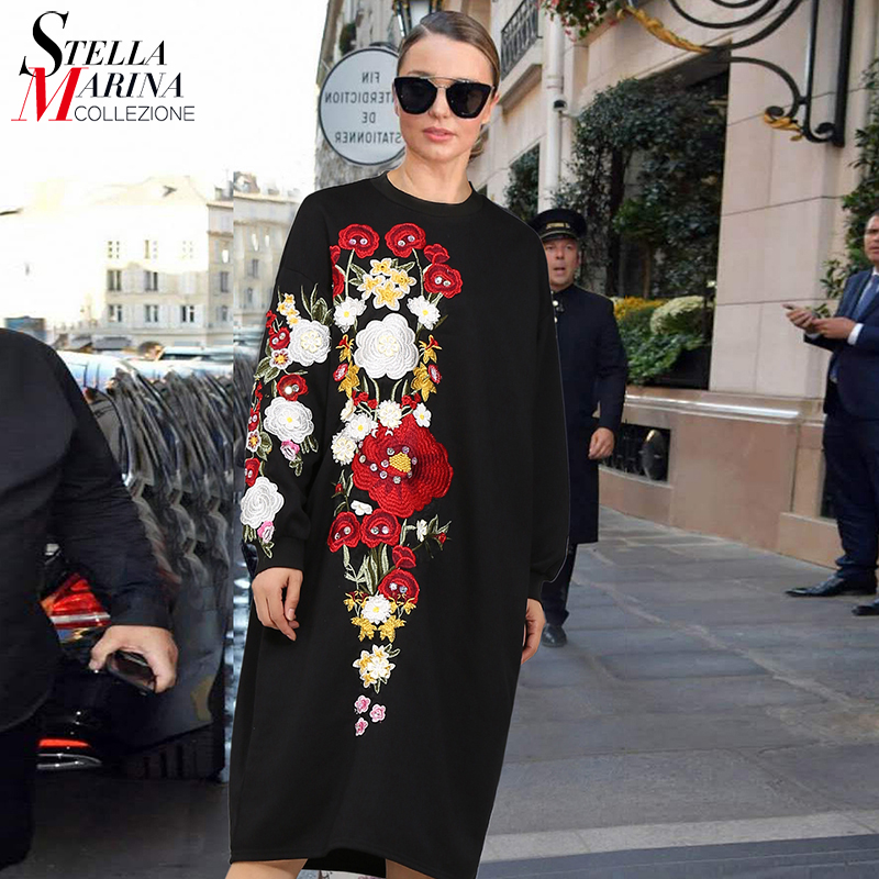 New 2017 European Style Autumn Women Long Dress O Neck Long Sleeve Flower Embroidery Black Green