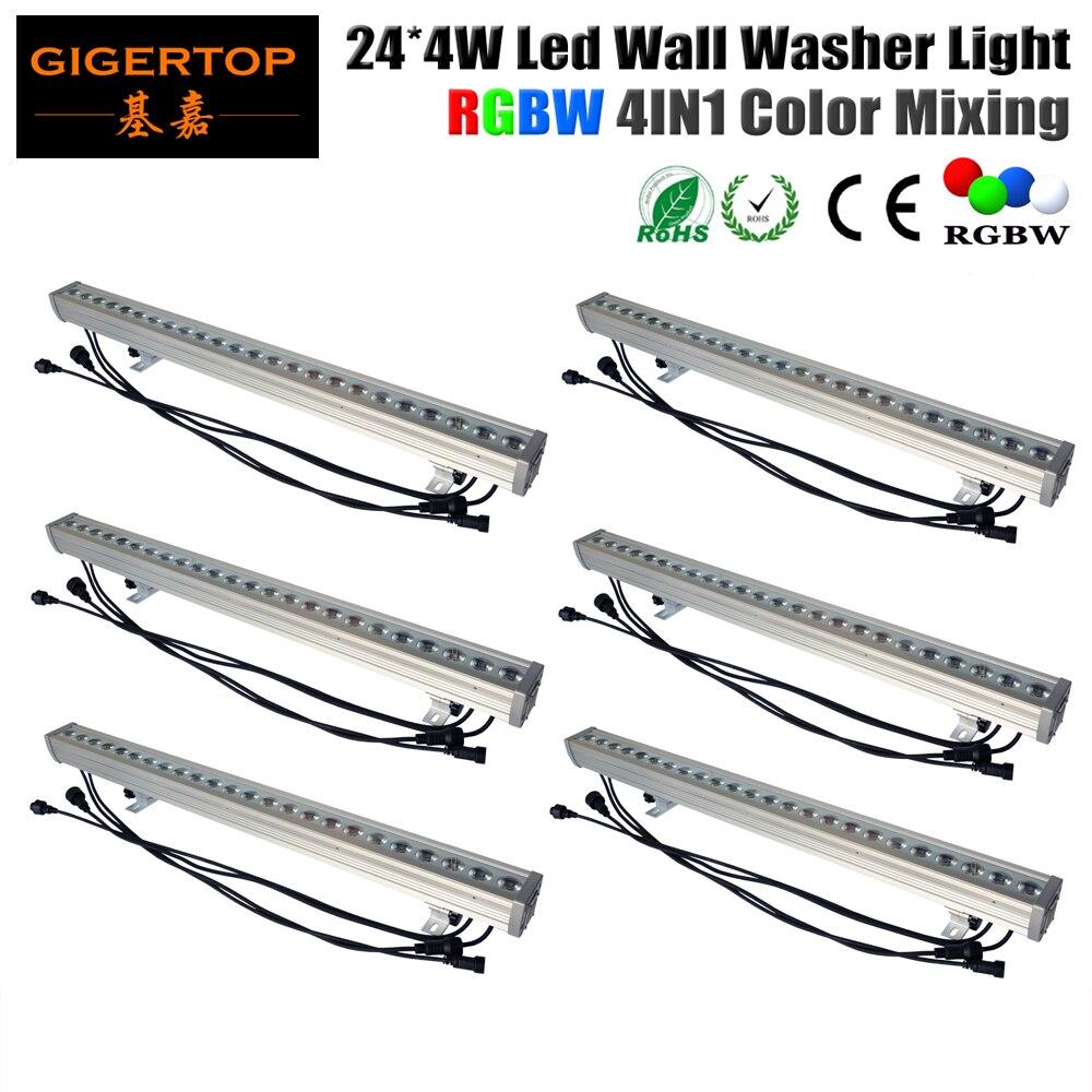 6pcs/lot 24x4W 4IN1 Led Wall Washer Light Outdoor,RGBW Led Flood Light DMX 512 Led Bar Light 90V-240V LED Stage Light