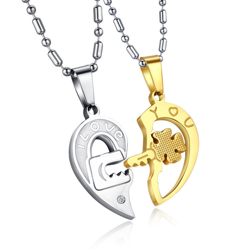 2PCs/Set Couple Necklace for Women and Men Love Heart Shape Key Lock Pendant Necklace 2019 New Fashion Paired Necklace Gifts(China)