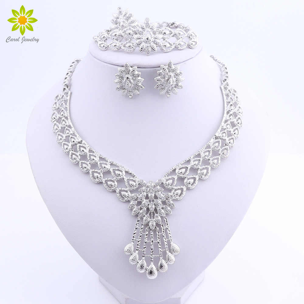Crystal Bridal Jewelry Sets Silver Plated Wedding Necklace Earrings Bracelet Ring African Beads Jewelry Sets Accessories