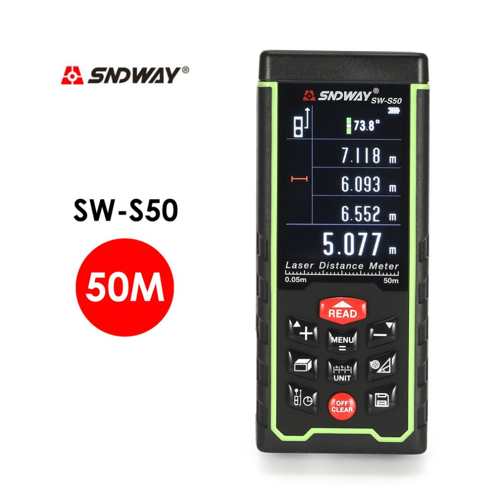 SNDWAY medidor de distância a laser 50 m m 100 m SW-S50 70/70/100 fita do laser rangefinder range finder construir o dispositivo de medida da régua ferramenta de teste