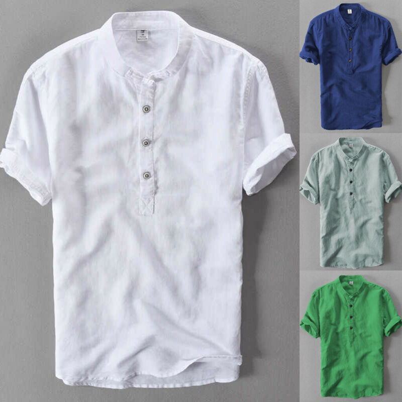 USA Mens Slim Short Sleeve Shirt Top Stylish Casual Cotton Linen Summer Blouse Shirt Tops
