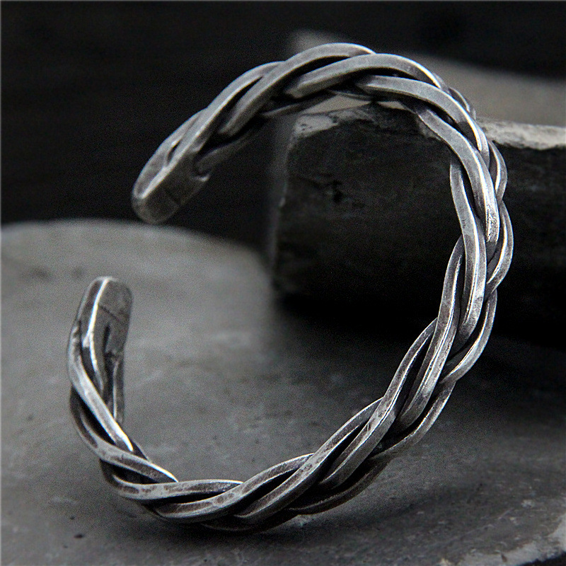 S925 Sterling Silver Chiang Mai Handmade Retro Thai Silver Vintage Style Twist Rope Male And Female Open Ended BangleS925 Sterling Silver Chiang Mai Handmade Retro Thai Silver Vintage Style Twist Rope Male And Female Open Ended Bangle