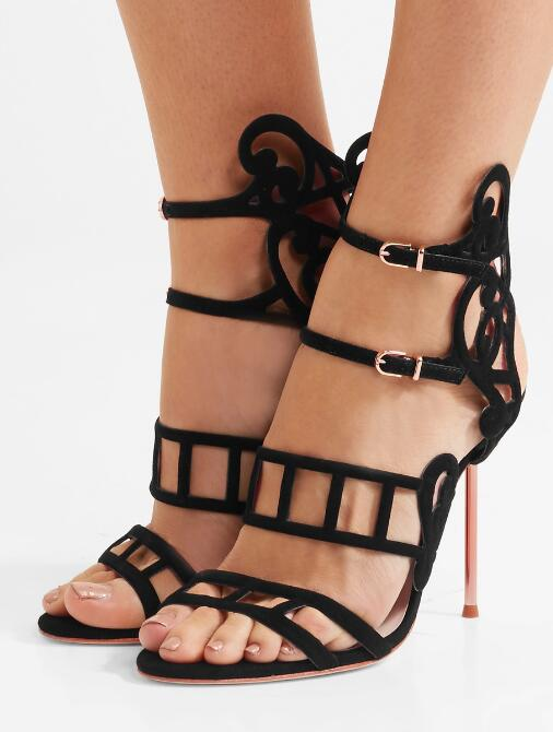 2017 Newest Cut Out Leather Straps Women Sexy Sandals Fashion Open Toe Ladies Summer High Heels Elegant Style Wedding Shoes цена