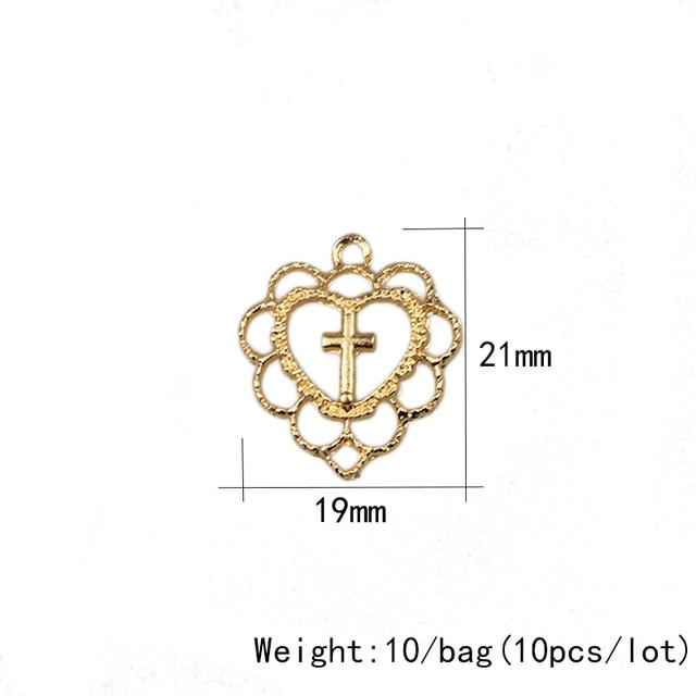 Позолота из цинкового сплава с крестом в виде сердца 20 мм 10