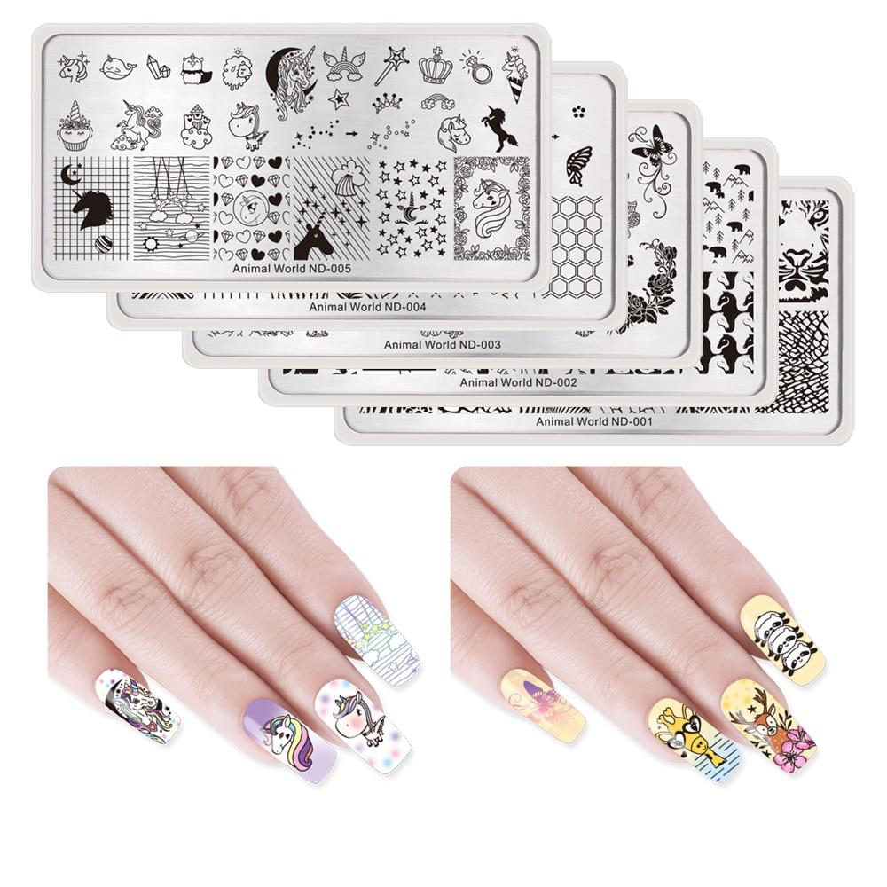 DIARIO DE NICOLE Nail Art Image Pringting Stamp Plate Animal Series - Arte de uñas