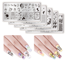 NICOLE DIARY Nail Art Image Placca per timbri Placca di animali Serie Butterfly Bee Unicorn Crown Rectangle Nail Stamping Template