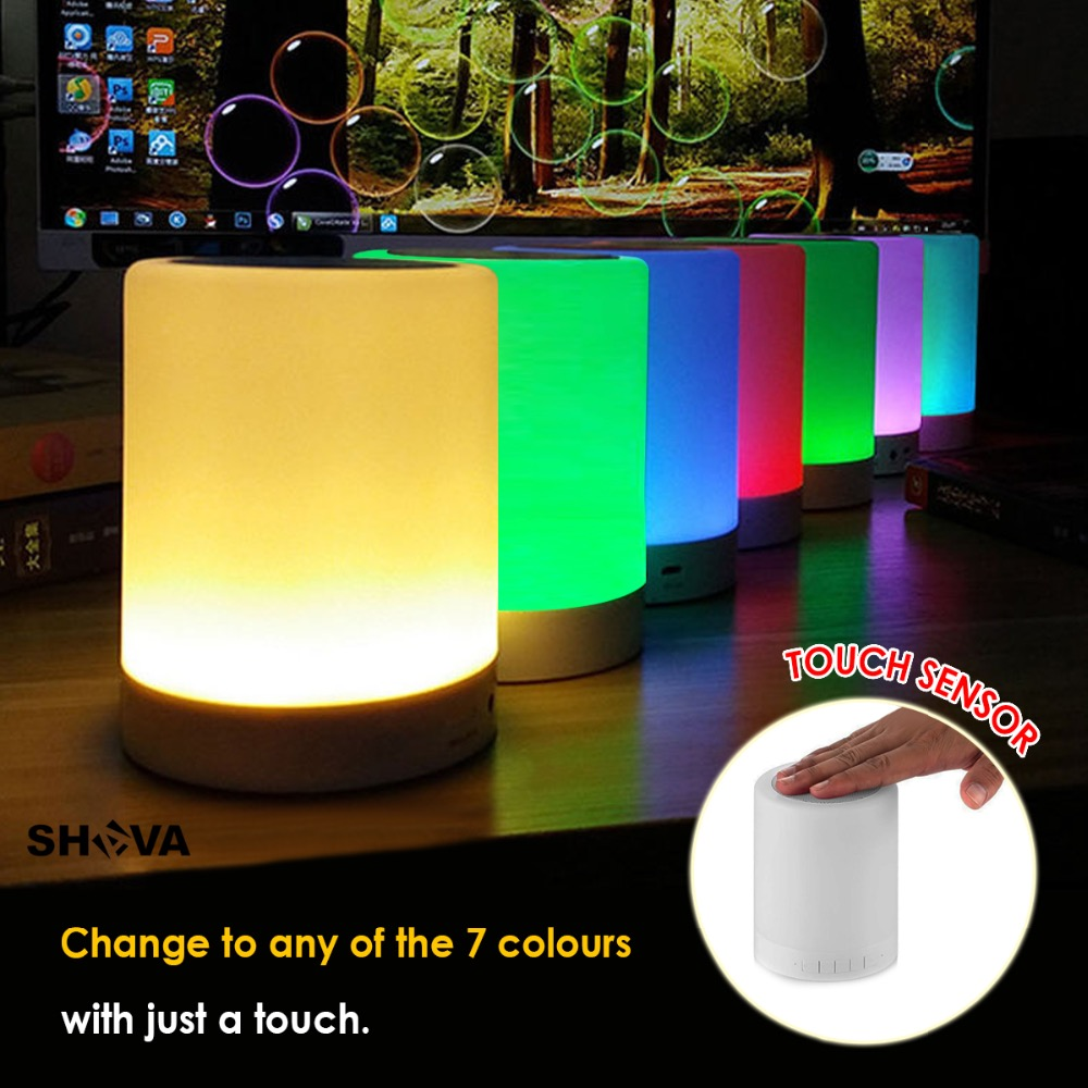 Night Light with Bluetooth Speaker SHAVA Portable Wireless Bluetooth Speaker Touch Control Color LED Bedside Table Lamp in Portable Speakers from Consumer Electronics