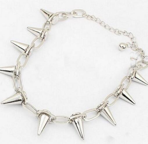 Vintage Silver Punk Spike Cone Stud Rivet Open Police Handcuffs Chain Bracelet Bangle Jewelry For Women Bijoux Accessories B506