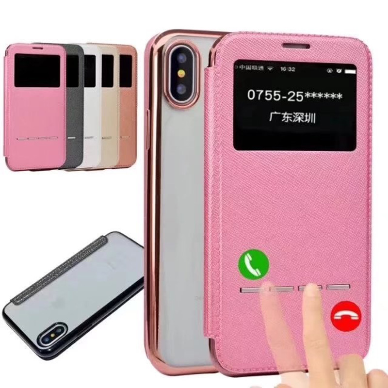 Smart Answer Calling PU Leather Case For Apple iphone X 8 7 6 6S Plus 5 5S SE Soft TPU Phone Back Cover Coques For iphone 7 Plus